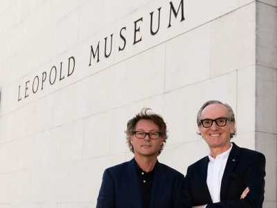 Hearonymus mobile phone audio guide founder Peter Grundmann with the director of the Leopold Museum Hans-Peter Wipplinger